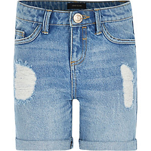 Girls mid wash ripped denim shorts