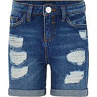 Girls dark wash ripped denim shorts