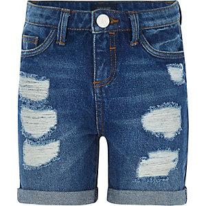 Girls dark wash ripped denim shorts
