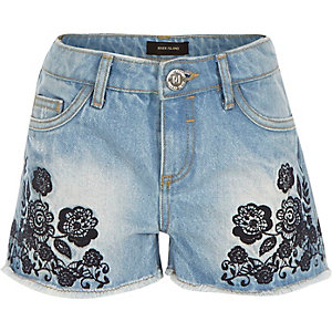 Girls blue embroidered denim shorts