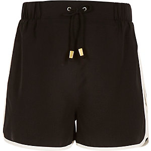 Girls black runner shorts