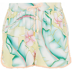 Girls yellow paradise print drawstring shorts