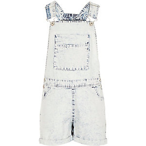 Girls blue acid wash dungarees