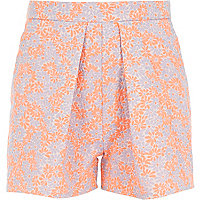 Girls orange fluro jacquard shorts