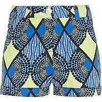 Girls blue geometric print shorts