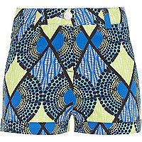 Girls blue geometric print shorts