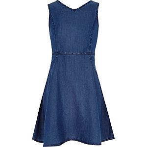 Girls dark denim circle dress