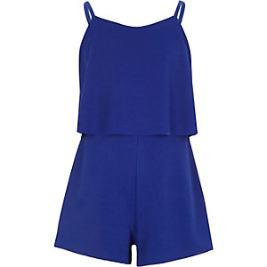 Girls blue textured double layer playsuit