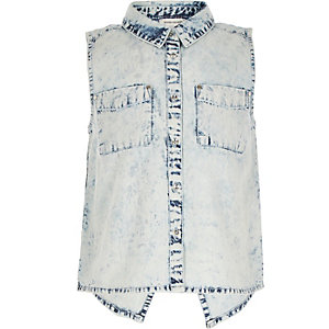 Girls blue acid wash denim shirt
