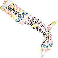 Girls white printed bandana scarf