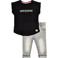 Mini girls black outfit top and jean outfit