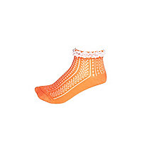 Girls orange frilly ankle socks