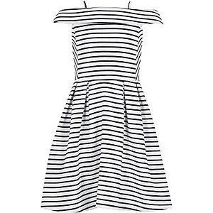 Girls black stripe bardot prom dress