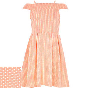 Girls coral polka dot bardot dress