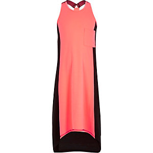 Girls coral racer back block colour dress