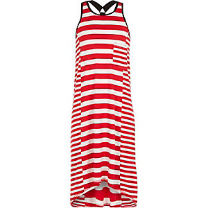 Girls red striped racer back maxi dress