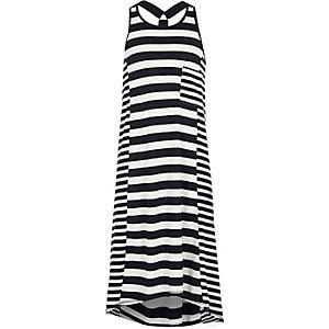 Girls navy striped racer back maxi dress
