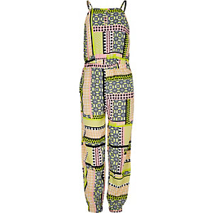 Girls pink printed jumpsuit