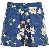 Girls blue floral jacquard shorts