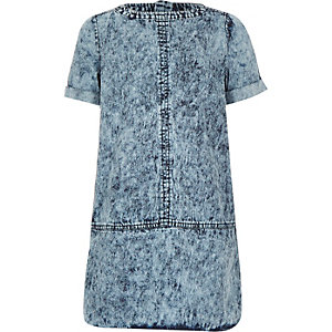 Girls blue acid wash denim dress