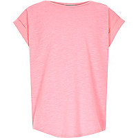 Girls pink split chiffon back t-shirt