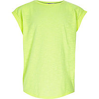 Neon green split chiffon back t-shirt
