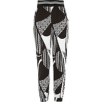 Girls black stripe joggers