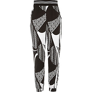 Girls black mixed print joggers