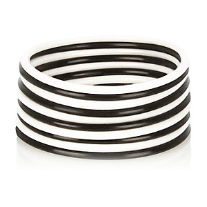 Girls black and white jelly bracelets
