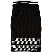 Girls black mesh side split tube skirt