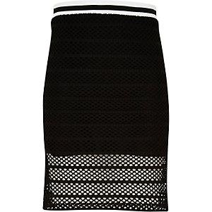 Girls black mesh side split tube skirt