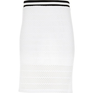 Girls white mesh side split tube skirt