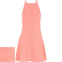 Girls coral printed fit and flare dress
