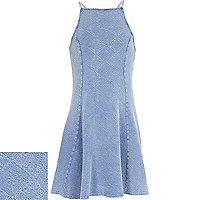 Girls washed blue fit and flare dress