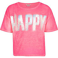 Girls pink happy diamante print t-shirt
