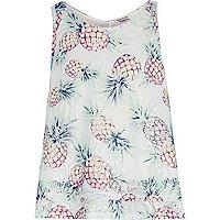 Girls green pineapple print vest top