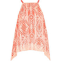Girls orange Aztec print hanky hem top