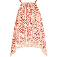 Girls orange Aztec print hanky hem top