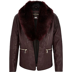 Girls dark red faux fur biker jacket