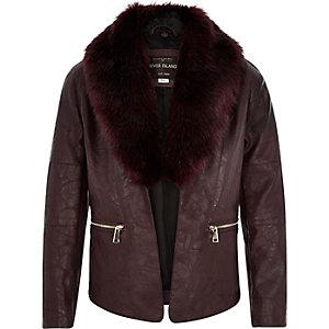 Girls dark red faux fur biker jacket