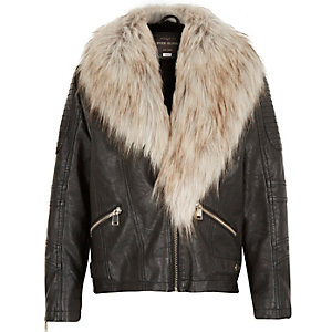 Girls black leather-look faux fur trim jacket