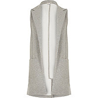 Girls grey sleeveless jersey blazer
