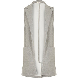 Girls grey sleeveless jersey blazer