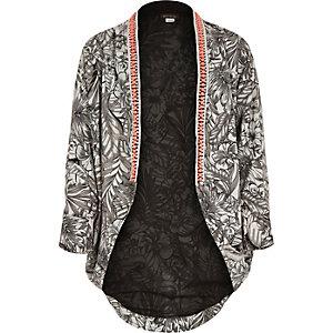 Girls black mono tropical print kimono