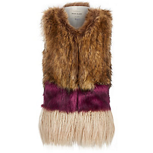 Girls brown colour block gilet