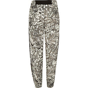 Girls black tropical print joggers