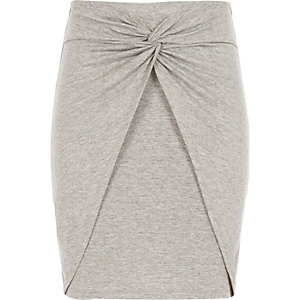Girls grey marl knot front skirt