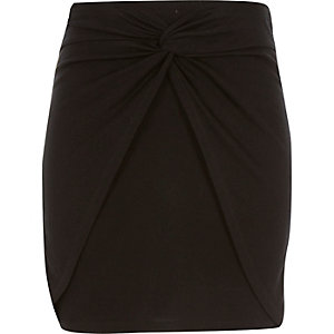 Girls black knot front skirt