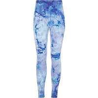 Girls blue tie dye leggings