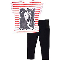 Mini girls stripe t-shirt and leggings outfit